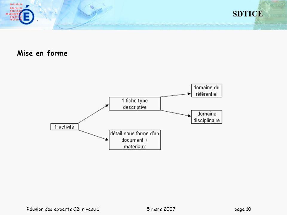 10 SDTICE Réunion des experts C2i niveau 1 5 mars 2007 page 10 Mise en forme