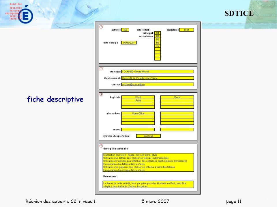 11 SDTICE Réunion des experts C2i niveau 1 5 mars 2007 page 11 fiche descriptive