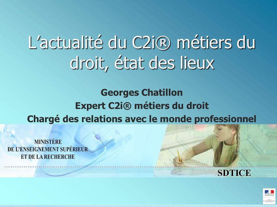 SDTICE Lactualité du C2i® métiers du droit, état des lieux Georges Chatillon Expert C2i® métiers du droit Chargé des relations avec le monde professionnel