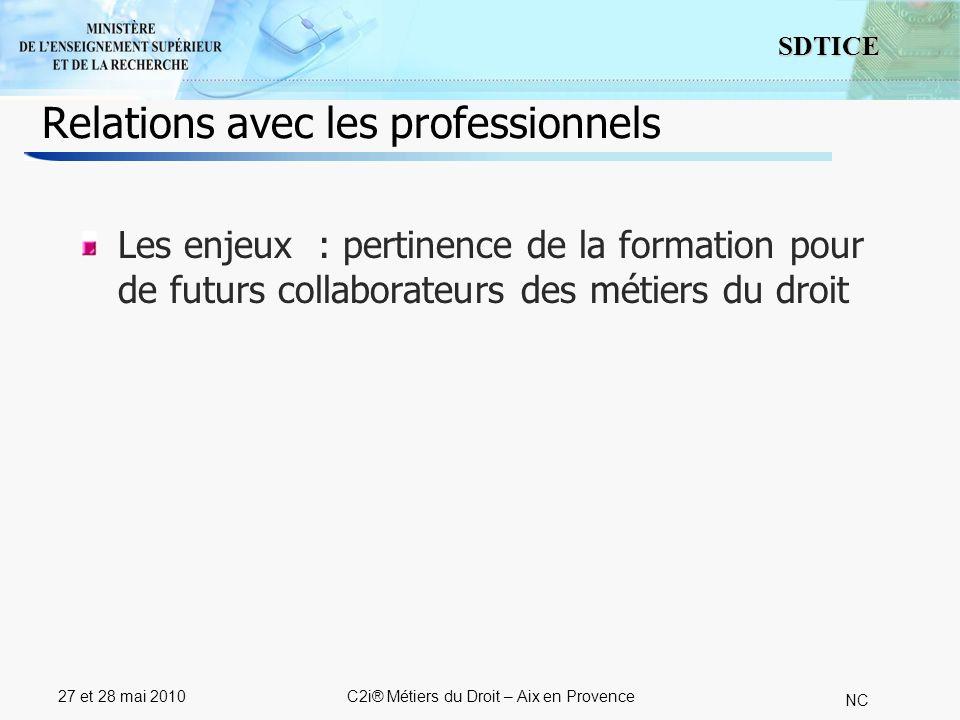 4 SDTICE NC 27 et 28 mai 2010C2i® Métiers du Droit – Aix en Provence Relations avec les professionnels La méthode : Responsabiliser les professionnels (définition des besoins de formation, suivi des stages, suivi des processus dembauche, suivi de la progression)