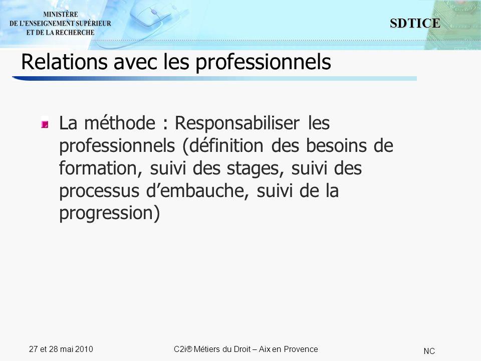 4 SDTICE NC 27 et 28 mai 2010C2i® Métiers du Droit – Aix en Provence Relations avec les professionnels La méthode : Responsabiliser les professionnels