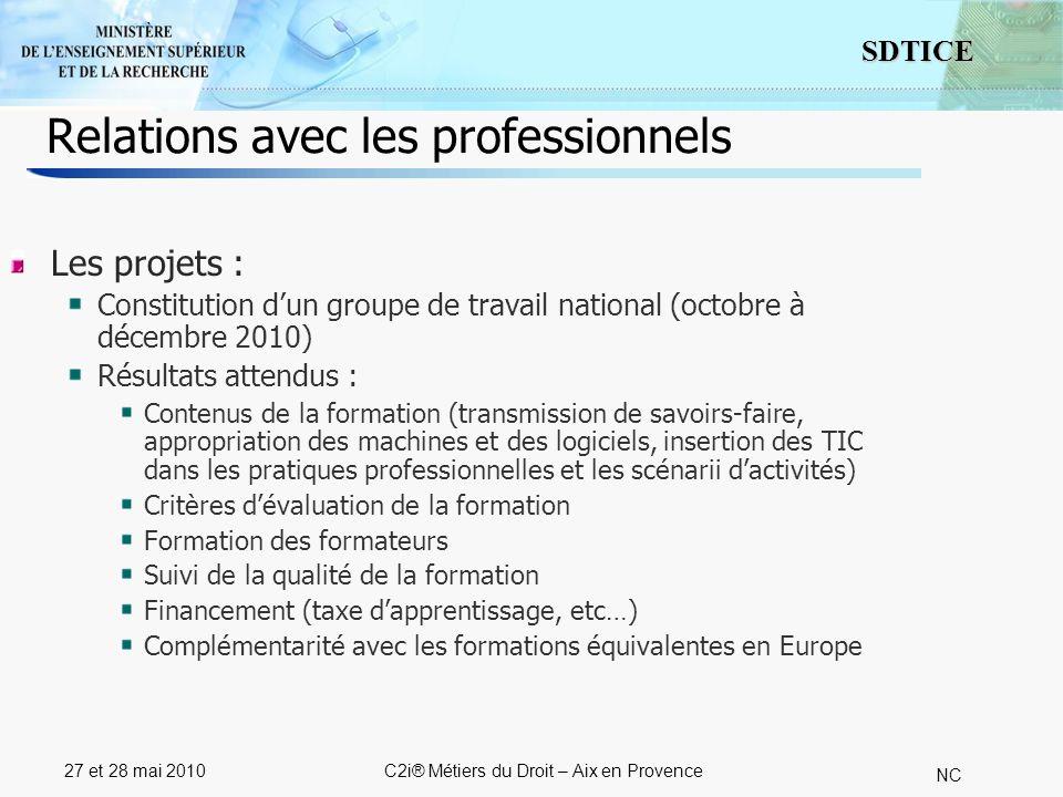 5 SDTICE NC 27 et 28 mai 2010C2i® Métiers du Droit – Aix en Provence Relations avec les professionnels Les projets : Constitution dun groupe de travai