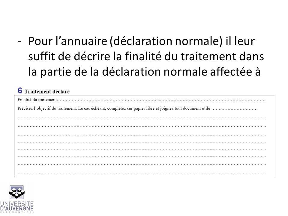-Pour lannuaire (déclaration normale) il leur suffit de décrire la finalité du traitement dans la partie de la déclaration normale affectée à cet usag