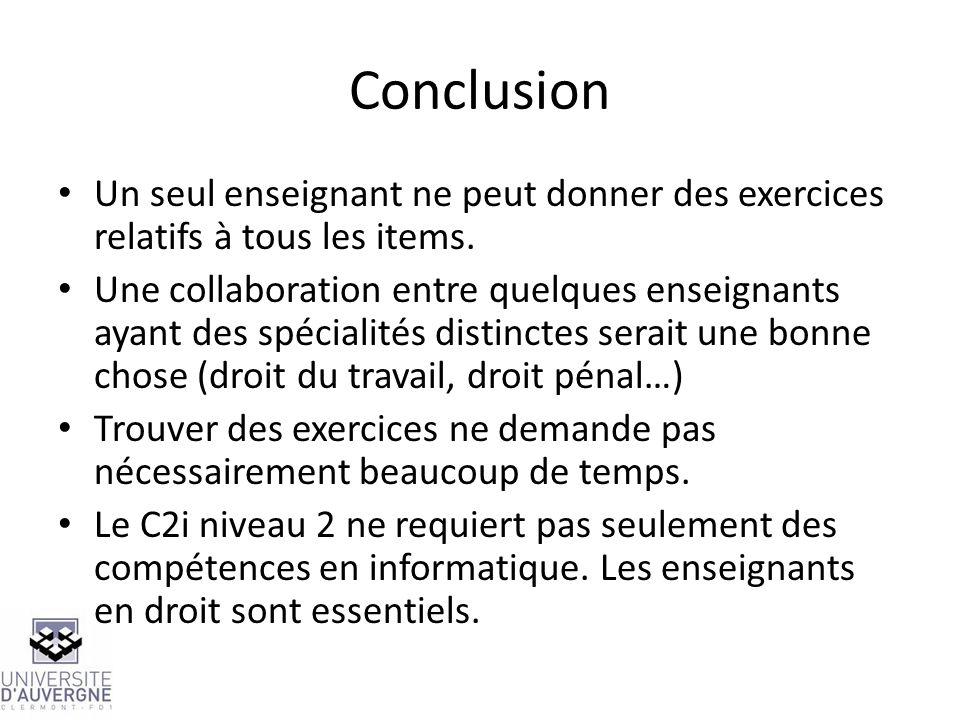 Conclusion Un seul enseignant ne peut donner des exercices relatifs à tous les items. Une collaboration entre quelques enseignants ayant des spécialit