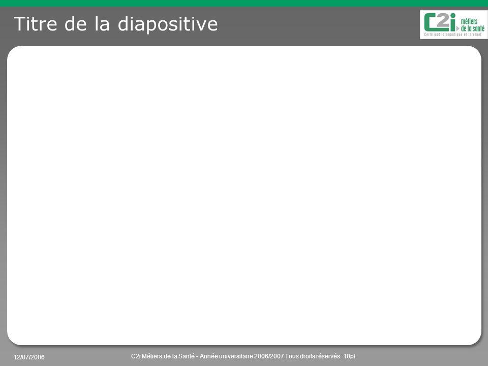 12/07/2006 C2i Métiers de la Santé - Année universitaire 2006/2007 Tous droits réservés. 10pt Titre de la diapositive