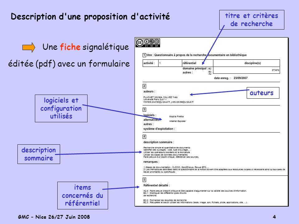 GMC – Nice 26/27 Juin 2008 4 Description d une proposition d activité Une fiche signalétique éditée (pdf) avec un formulaire titre et critères de recherche items concernés du référentiel description sommaire logiciels et configuration utilisés auteurs