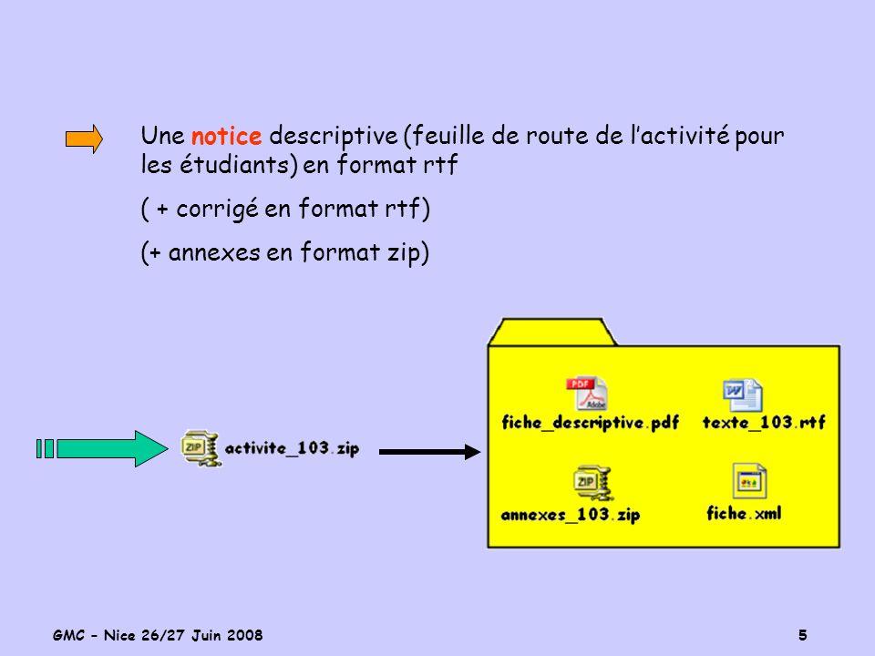 GMC – Nice 26/27 Juin 2008 5 Une notice descriptive (feuille de route de lactivité pour les étudiants) en format rtf ( + corrigé en format rtf) (+ ann