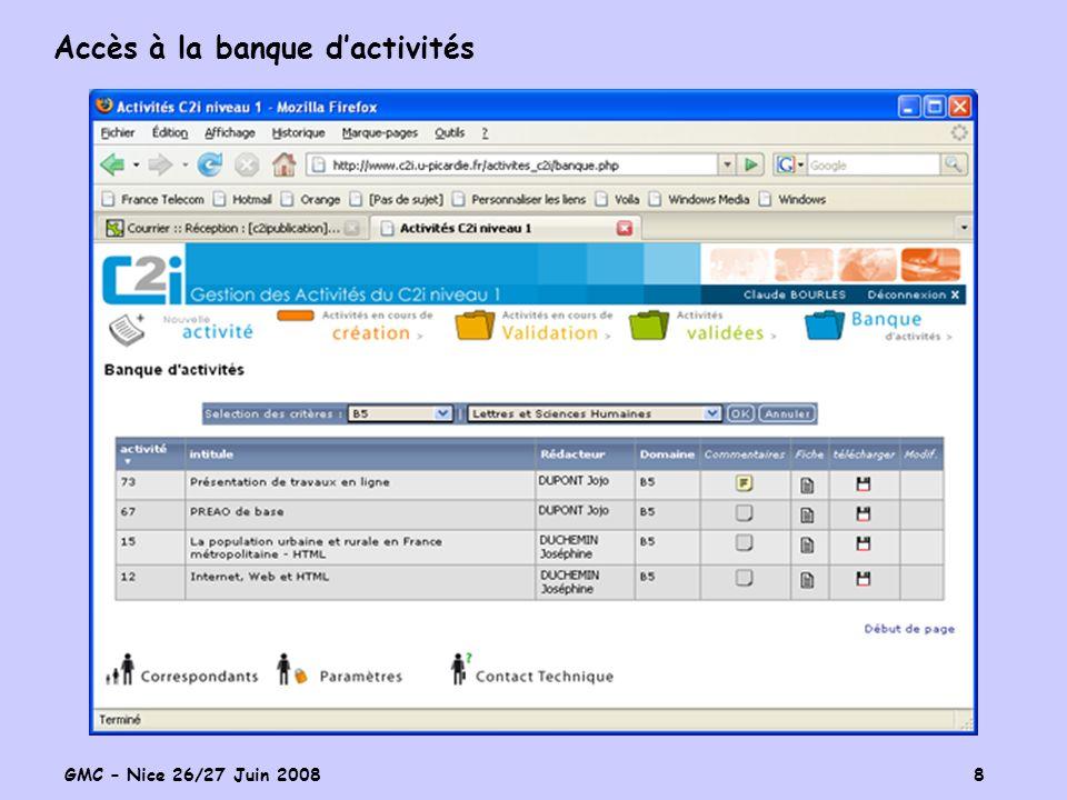 GMC – Nice 26/27 Juin 2008 8 Accès à la banque dactivités
