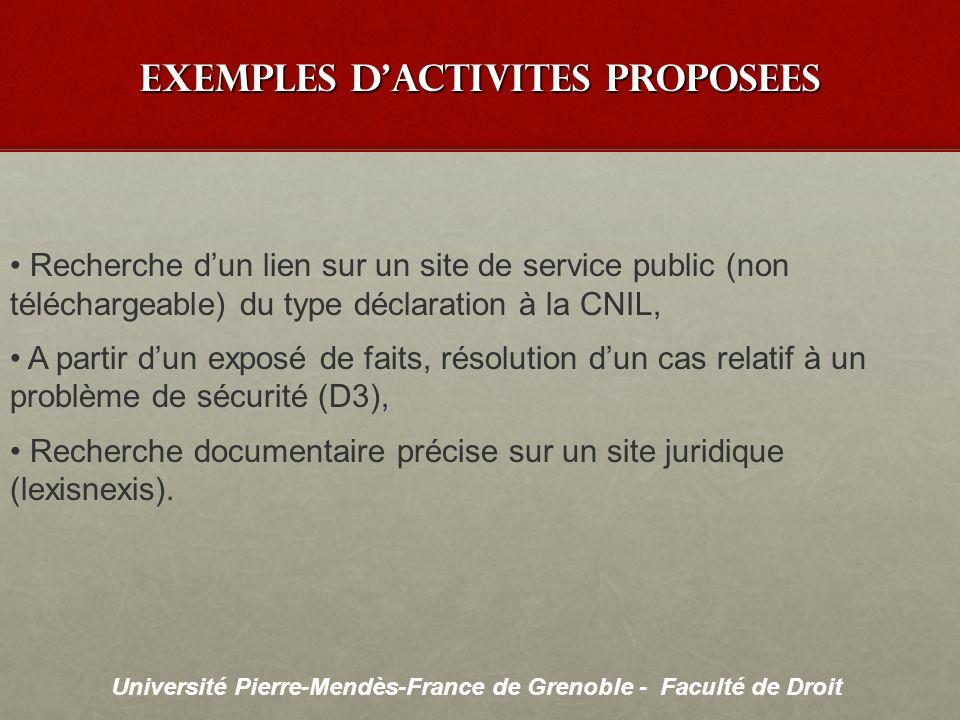 Université Pierre-Mendès-France de Grenoble - Faculté de Droit exemples dactivites proposees Recherche dun lien sur un site de service public (non tél