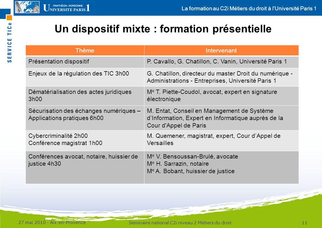 La formation au C2i Métiers du droit à lUniversité Paris 1 Un dispositif mixte : formation présentielle 27 mai 2010 - Aix-en-Provence 11Séminaire national C2i niveau 2 Métiers du droit ThèmeIntervenant Présentation dispositifP.