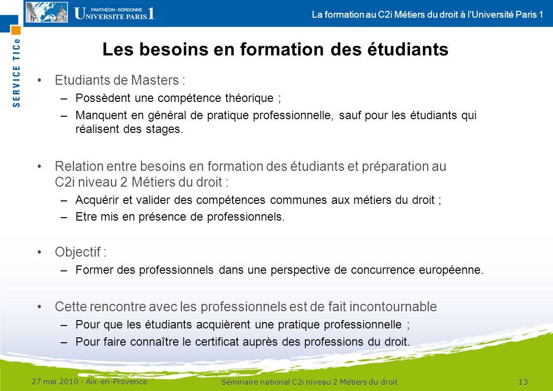 La formation au C2i Métiers du droit à lUniversité Paris 1 Les besoins en formation des étudiants Etudiants de Masters : –Possèdent une compétence théorique ; –Manquent en général de pratique professionnelle, sauf pour les étudiants qui réalisent des stages.