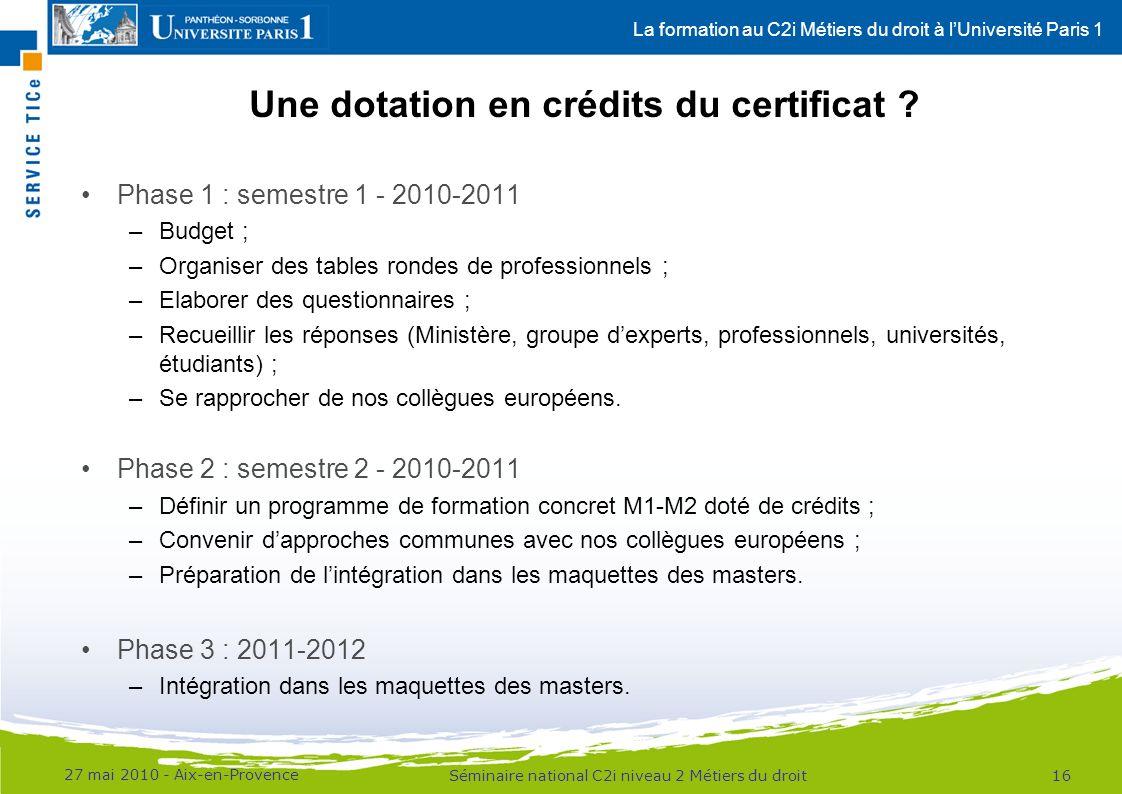 La formation au C2i Métiers du droit à lUniversité Paris 1 Phase 1 : semestre 1 - 2010-2011 –Budget ; –Organiser des tables rondes de professionnels ;