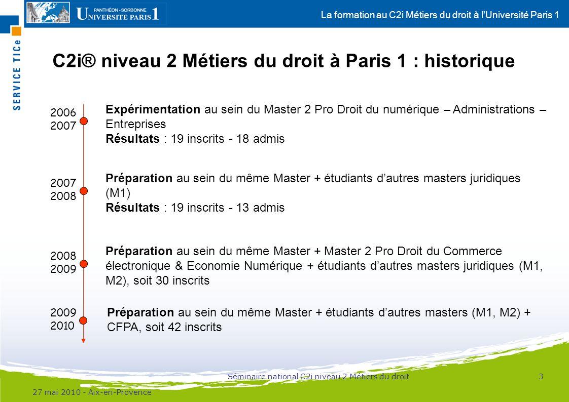 La formation au C2i Métiers du droit à lUniversité Paris 1 Vers la mise en place dun dispositif mixte dès le M1 Objectif : insertion professionnelle des étudiants –En effet, certains étudiants ne poursuivent pas en M2 Définition dun programme de formation M1/M2 : –M1 : 25h dinterventions / conférences / débats –M2 : 25h dinterventions / conférences / débats –Nécessité de proposer une maquette de formation dotée de crédits (règlementation LMD) Ressources en ligne / travail collaboratif : –Modules produits suite à lappel à contributions 2009 ; –Ressources audiovisuelles issues de la formation présentielle ; –Mise à disposition des étudiants doutils collaboratifs (forums, etc.) ; –Mise en place dun tutorat.