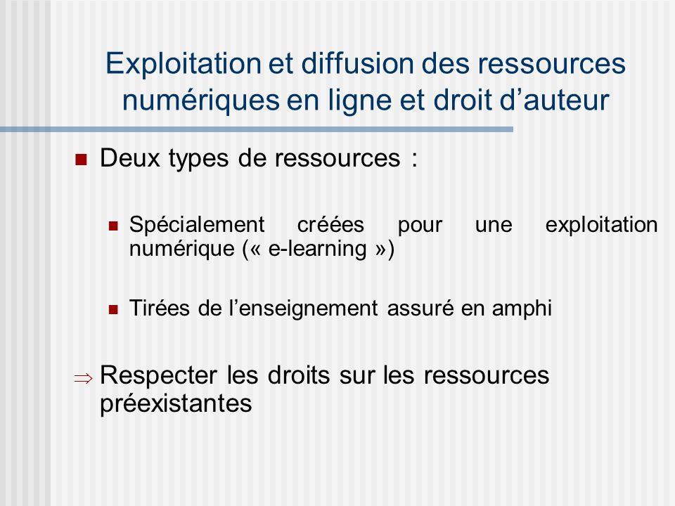 Exploitation et diffusion des ressources numériques en ligne et droit dauteur Deux types de ressources : Spécialement créées pour une exploitation numérique (« e-learning ») Tirées de lenseignement assuré en amphi Respecter les droits sur les ressources préexistantes