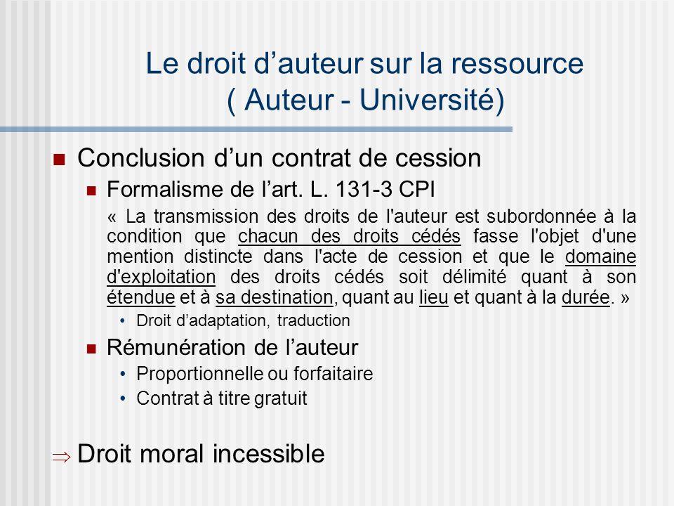 Le droit dauteur sur la ressource ( Auteur - Université) Conclusion dun contrat de cession Formalisme de lart.