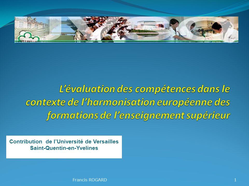 Francis ROGARD1 Contribution de lUniversité de Versailles Saint-Quentin-en-Yvelines