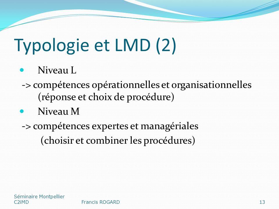 Typologie et LMD (2) Niveau L -> compétences opérationnelles et organisationnelles (réponse et choix de procédure) Niveau M -> compétences expertes et