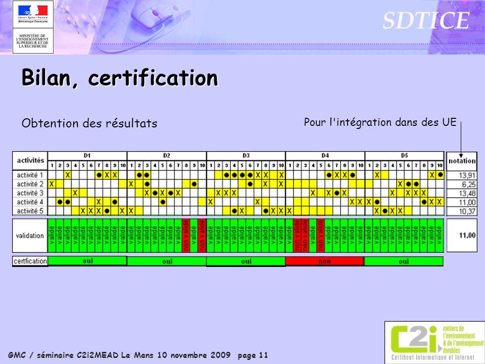 GMC / séminaire C2i2MEAD Le Mans 10 novembre 2009 page 11 SDTICE Bilan, certification Obtention des résultats Pour l intégration dans des UE