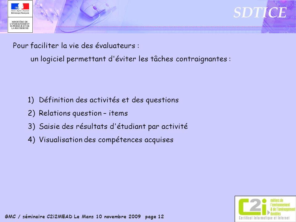 GMC / séminaire C2i2MEAD Le Mans 10 novembre 2009 page 12 SDTICE Pour faciliter la vie des évaluateurs : un logiciel permettant d'éviter les tâches co