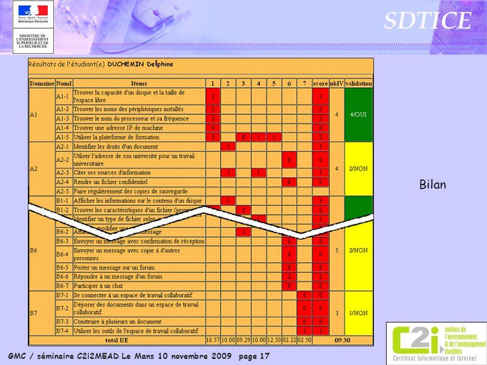 GMC / séminaire C2i2MEAD Le Mans 10 novembre 2009 page 17 SDTICE Bilan