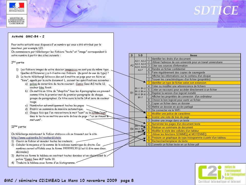 GMC / séminaire C2i2MEAD Le Mans 10 novembre 2009 page 8 SDTICE