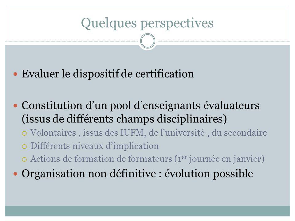 Quelques perspectives Evaluer le dispositif de certification Constitution dun pool denseignants évaluateurs (issus de différents champs disciplinaires