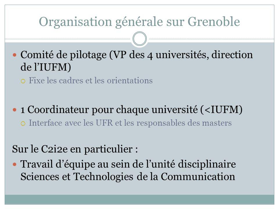 Organisation générale sur Grenoble Comité de pilotage (VP des 4 universités, direction de lIUFM) Fixe les cadres et les orientations 1 Coordinateur po
