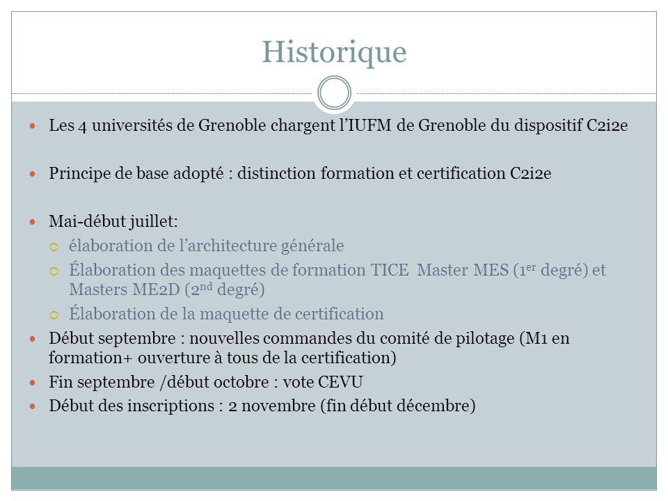 Historique Les 4 universités de Grenoble chargent lIUFM de Grenoble du dispositif C2i2e Principe de base adopté : distinction formation et certificati