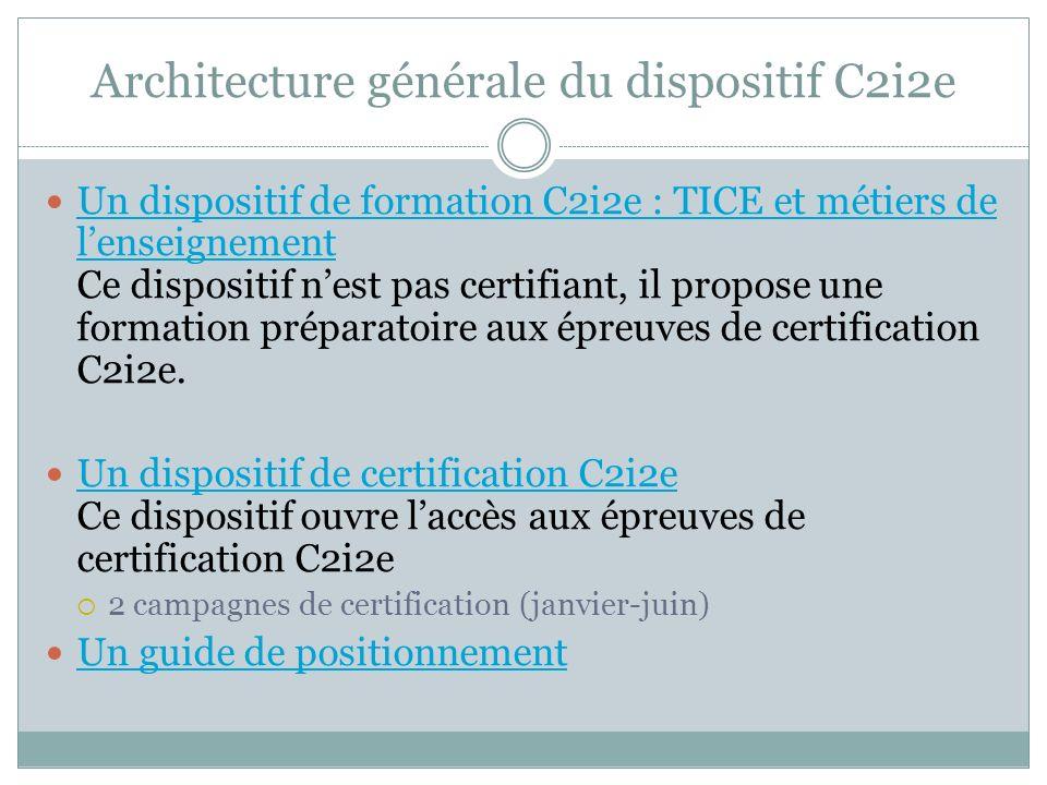 Architecture générale du dispositif C2i2e Un dispositif de formation C2i2e : TICE et métiers de lenseignement Ce dispositif nest pas certifiant, il pr