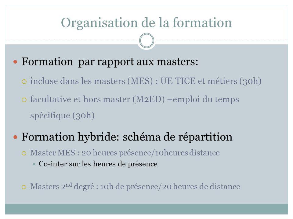 Organisation de la formation Formation par rapport aux masters: incluse dans les masters (MES) : UE TICE et métiers (30h) facultative et hors master (