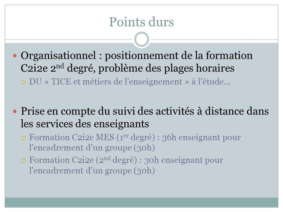 Points durs Organisationnel : positionnement de la formation C2i2e 2 nd degré, problème des plages horaires DU « TICE et métiers de lenseignement » à