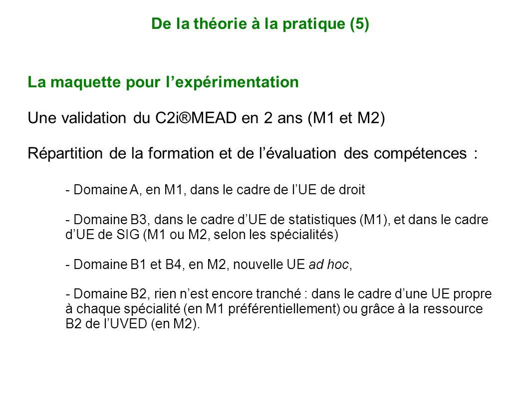 La maquette pour lexpérimentation Une validation du C2i®MEAD en 2 ans (M1 et M2) Répartition de la formation et de lévaluation des compétences : - Dom