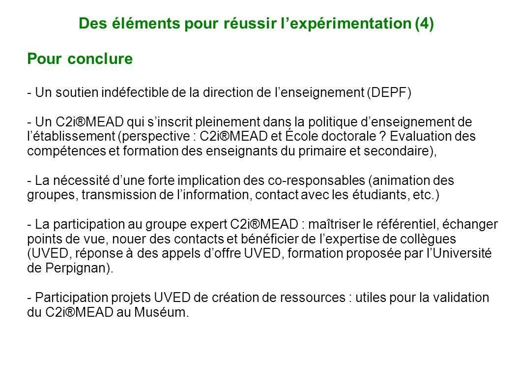 Des éléments pour réussir lexpérimentation (4) Pour conclure - Un soutien indéfectible de la direction de lenseignement (DEPF) - Un C2i®MEAD qui sinsc