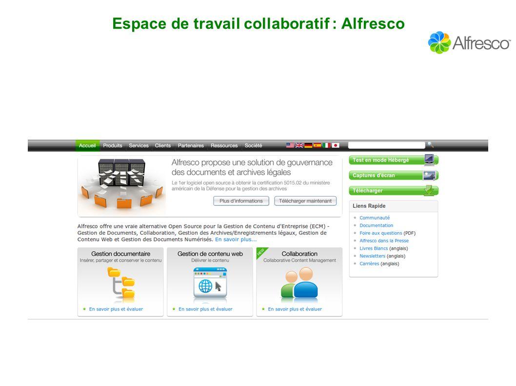 Espace de travail collaboratif : Alfresco