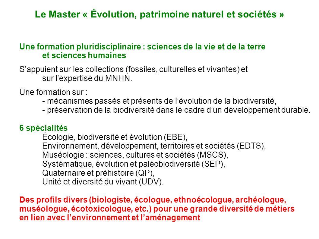Une formation pluridisciplinaire : sciences de la vie et de la terre et sciences humaines Sappuient sur les collections (fossiles, culturelles et viva