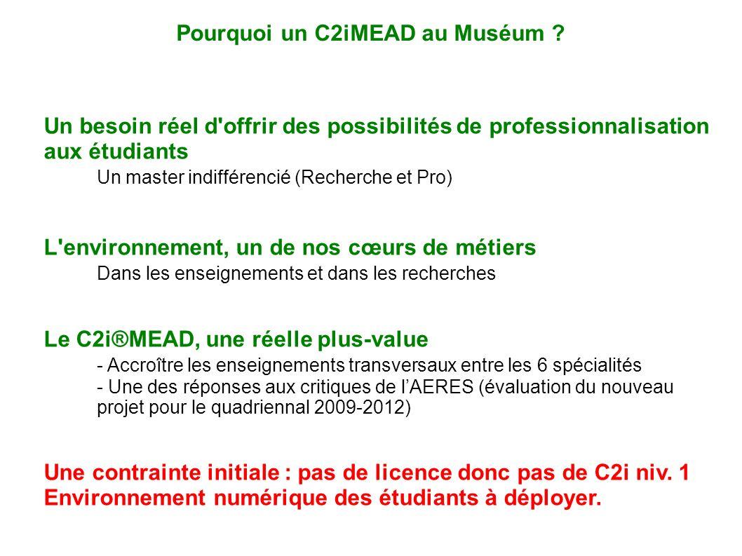 Un besoin réel d'offrir des possibilités de professionnalisation aux étudiants Un master indifférencié (Recherche et Pro) L'environnement, un de nos c