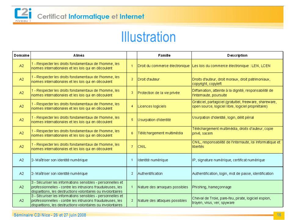 16 Séminaire C2i Nice - 26 et 27 juin 2008 Illustration