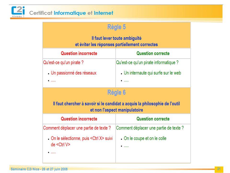 21 Séminaire C2i Nice - 26 et 27 juin 2008