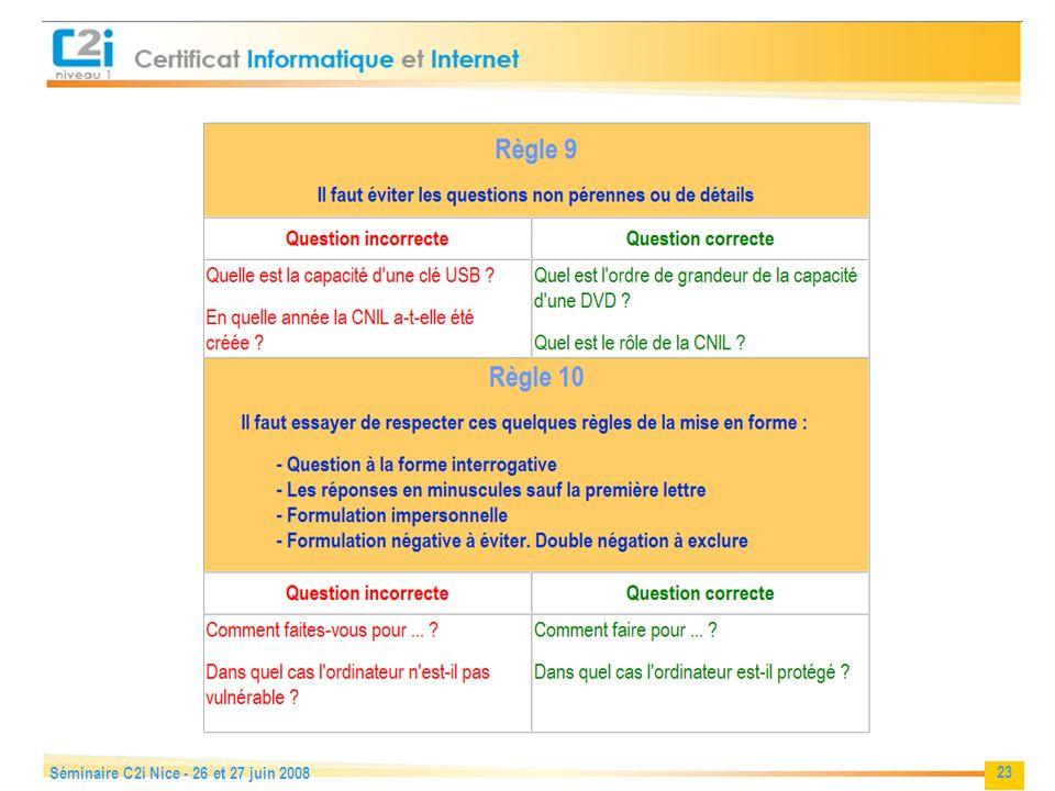 23 Séminaire C2i Nice - 26 et 27 juin 2008