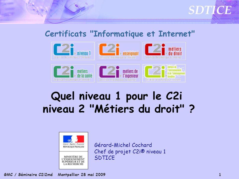 GMC / Séminaire C2i2md Montpellier 28 mai 2009 1 SDTICE Gérard-Michel Cochard Chef de projet C2i® niveau 1 SDTICE Certificats Informatique et Internet Quel niveau 1 pour le C2i niveau 2 Métiers du droit