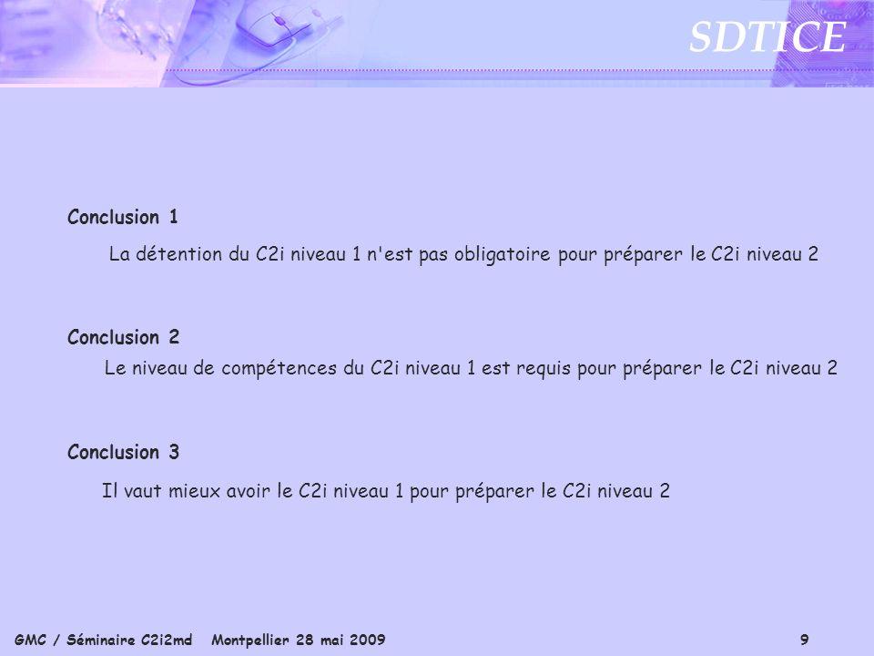 GMC / Séminaire C2i2md Montpellier 28 mai 2009 9 SDTICE Conclusion 1 La détention du C2i niveau 1 n est pas obligatoire pour préparer le C2i niveau 2 Conclusion 2 Le niveau de compétences du C2i niveau 1 est requis pour préparer le C2i niveau 2 Conclusion 3 Il vaut mieux avoir le C2i niveau 1 pour préparer le C2i niveau 2
