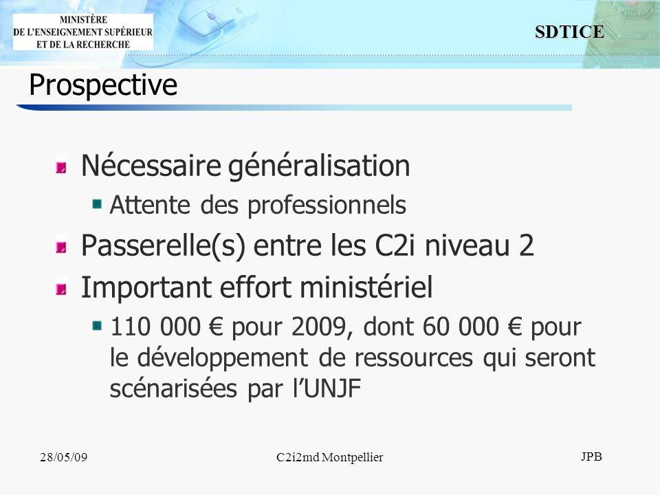 13 SDTICE JPB 28/05/09C2i2md Montpellier Prospective Nécessaire généralisation Attente des professionnels Passerelle(s) entre les C2i niveau 2 Important effort ministériel 110 000 pour 2009, dont 60 000 pour le développement de ressources qui seront scénarisées par lUNJF
