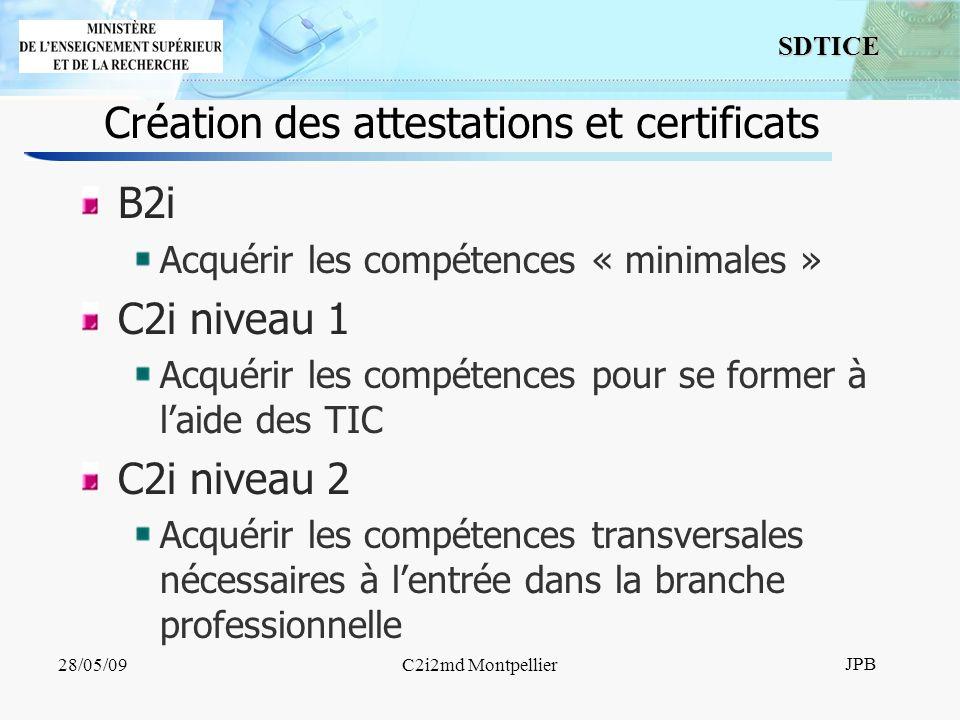 6 SDTICE JPB 28/05/09C2i2md Montpellier Les C2i niveau 2 Enseignant Métiers du droit (UNJF) Métiers de la santé (UMVF) Métiers de lingénieur (UNIT) Métiers de lenvironnement et de laménagement durables (UVED)