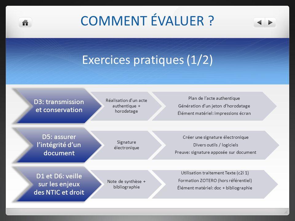 Exercices pratiques (1/2) COMMENT ÉVALUER .