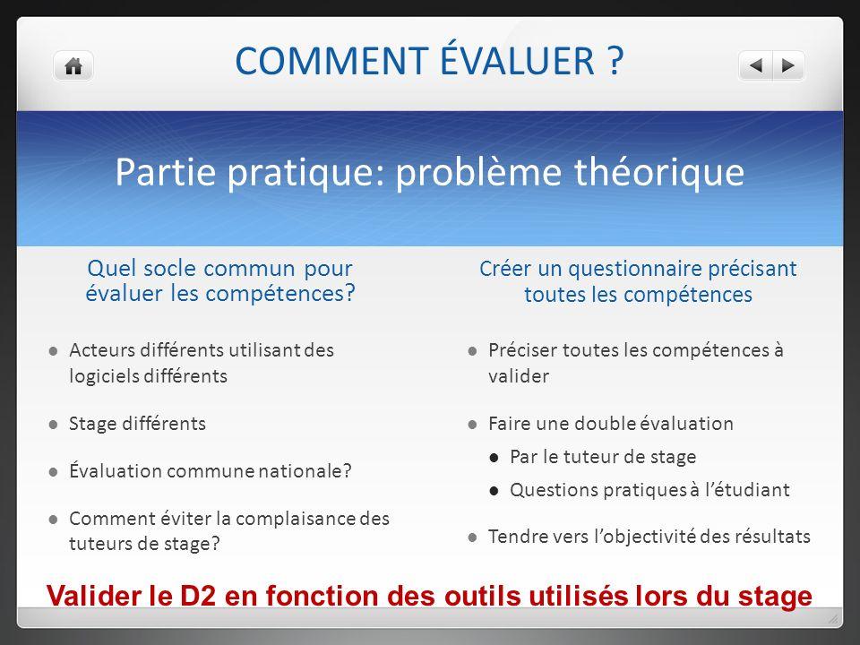 Partie pratique: problème théorique Quel socle commun pour évaluer les compétences.