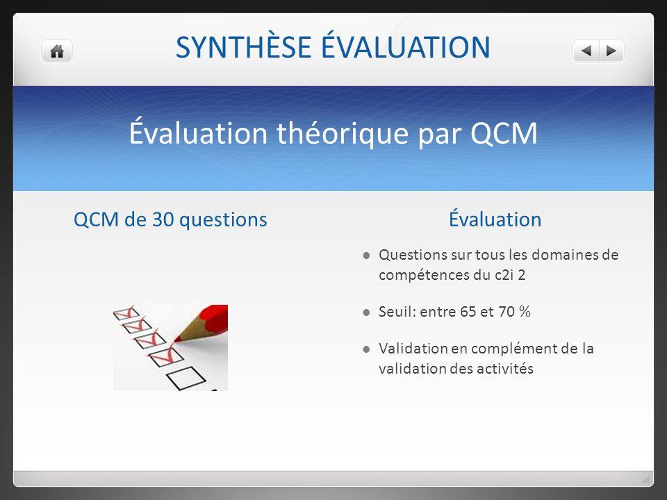 Évaluation théorique par QCM QCM de 30 questionsÉvaluation Questions sur tous les domaines de compétences du c2i 2 Seuil: entre 65 et 70 % Validation en complément de la validation des activités SYNTHÈSE ÉVALUATION