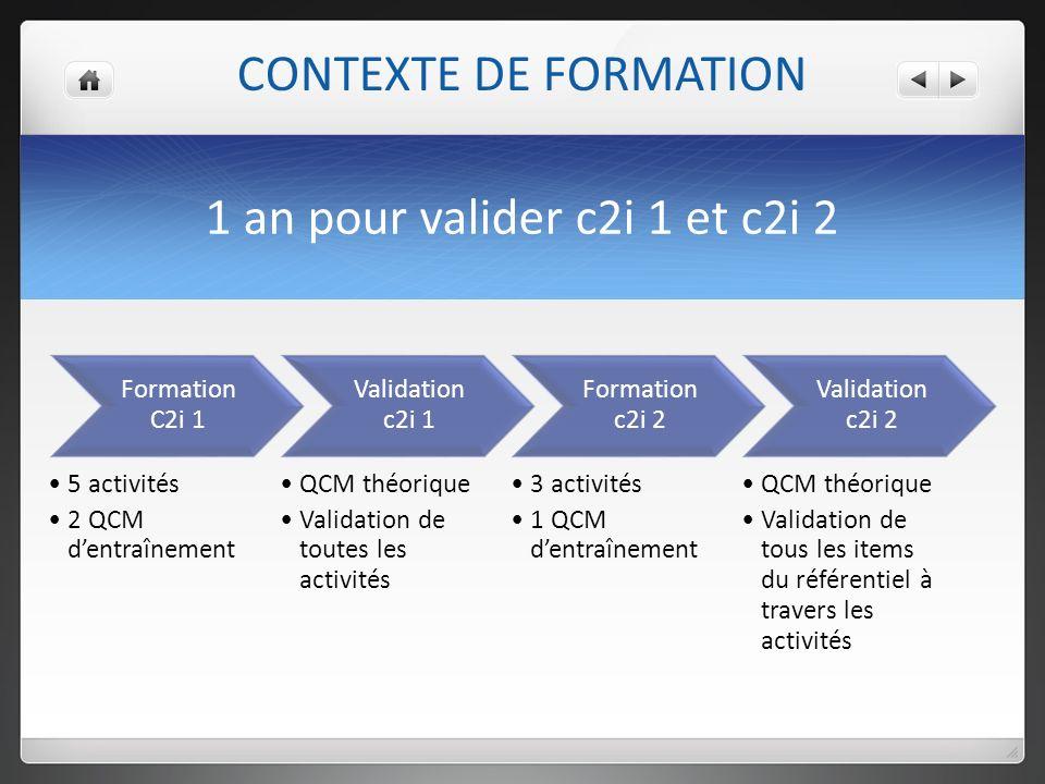 1 an pour valider c2i 1 et c2i 2 Formation C2i 1 5 activités 2 QCM dentraînement Validation c2i 1 QCM théorique Validation de toutes les activités Formation c2i 2 3 activités 1 QCM dentraînement Validation c2i 2 QCM théorique Validation de tous les items du référentiel à travers les activités CONTEXTE DE FORMATION