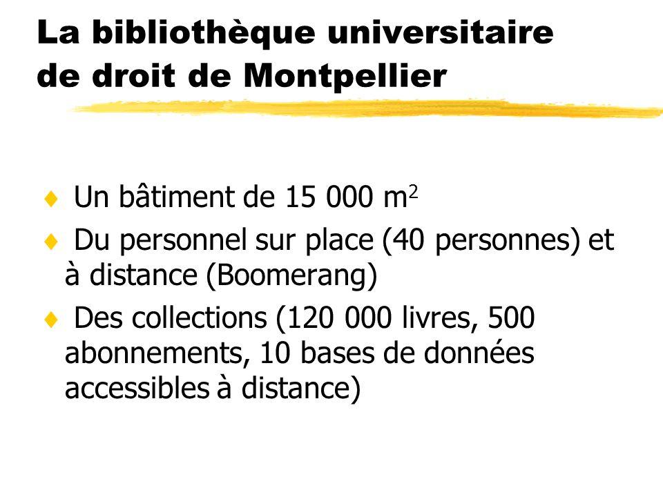 La bibliothèque universitaire de droit de Montpellier Un bâtiment de 15 000 m 2 Du personnel sur place (40 personnes) et à distance (Boomerang) Des co