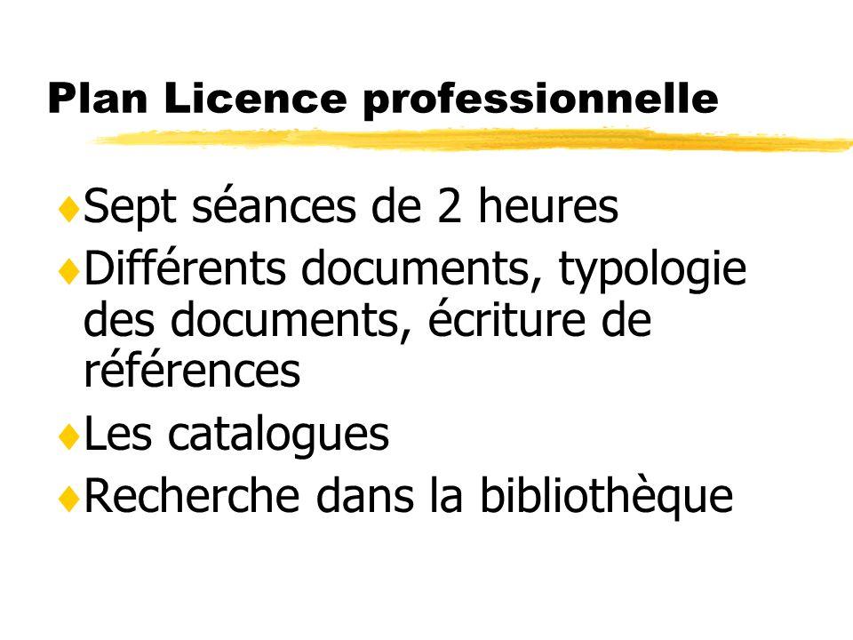 Plan Licence professionnelle Sept séances de 2 heures Différents documents, typologie des documents, écriture de références Les catalogues Recherche d