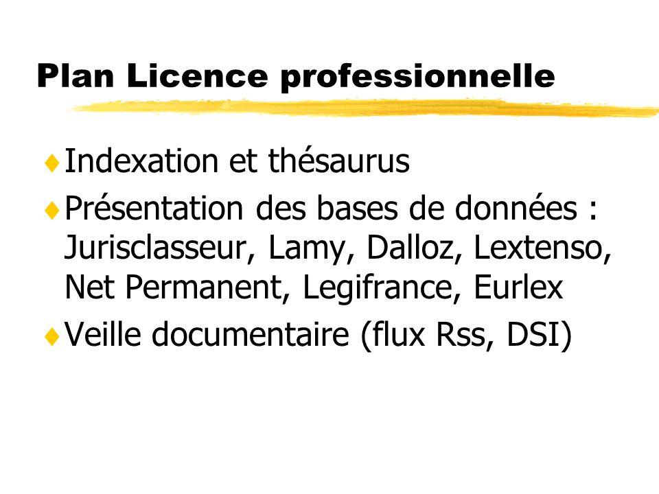 Plan Licence professionnelle Indexation et thésaurus Présentation des bases de données : Jurisclasseur, Lamy, Dalloz, Lextenso, Net Permanent, Legifrance, Eurlex Veille documentaire (flux Rss, DSI)